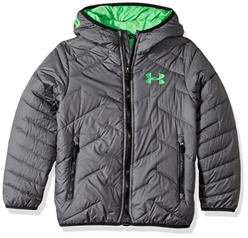 uk availability caf42 9a1ba Under Armour Boys  ColdGear Reactor Hooded Jacket, Graphite Lime Twist,  Youth Large