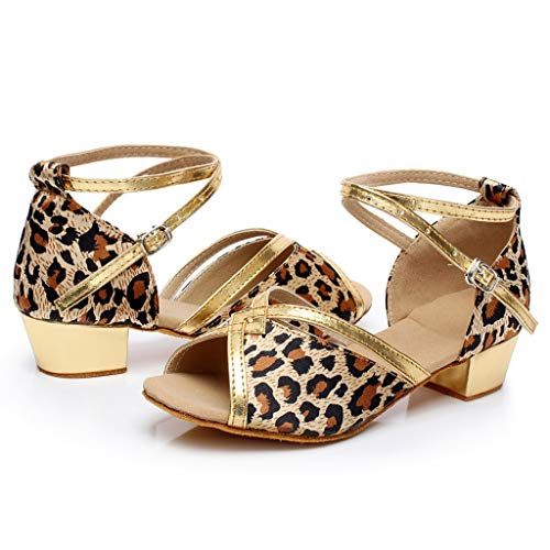 CSSD Girls Sequin Sandals, Kids Girls Princess Dancing Ballroom Tango Latin Shoes Party Dress Pumps Sandals (9.5, Brown)