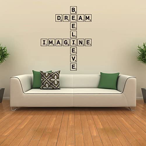 Dream Imagine Believe Wall Sticker Scrabble Tiles Wall Decal Art available in 5 Sizes and 25 Colours Large White by IconWallStickers: Amazon.es: Hogar