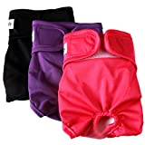 vecomfy Washable Dog Diapers Female for Small Dogs(3 Pack),Premium Reusable Leakproof Puppy Nappies, S