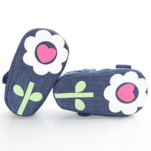 Hunpta Babyschuhe Mädchen Jungen Lauflernschuhe Baby Bowknot Schneeflocke Denim Kleinkind Prinzessin erste Wanderer Mädchen Kind Schuhe (13, Blau) Blau