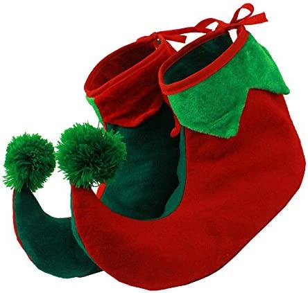ELF SHOES BOOTS WITH STUFFED ENDS TO MAKE THEM STAND UP IN ADULT SIZE - 2 CHRISTMAS FANCY DRESS ELF SHOE ACCESSORY…