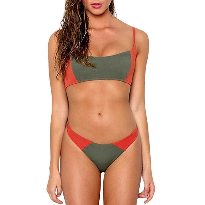 c77ab5c5 ... Mujeres Sexy Tubo Superior SóLido Beachwear Bikinis Mujer Sexy  BrasileñO Patchwork 2 Piezas Vendaje Bikini Traje De BañO: Amazon.es: Ropa y  accesorios