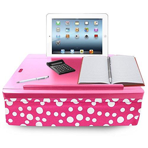 iCozy Portable Cushion Lap Desk With Storage - Pink Polka Dot by iCozy