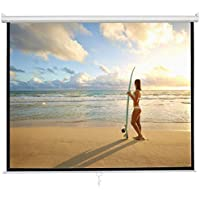 ZENY 119 Projector Screen 1:1 HD Projection Manual Pull Down Portable Foldaway Movie Home Theater Projector Movies Screen (119, 1:1)