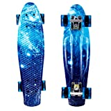 ANCHEER Mini Cruiser Skateboard 22'' Complete Classic 70's Retro Style Plastic Skate Board. Best Birthday Gifts for Teens Kids Boys Girls Age 4 Up (A Starry-Sky Blue2)