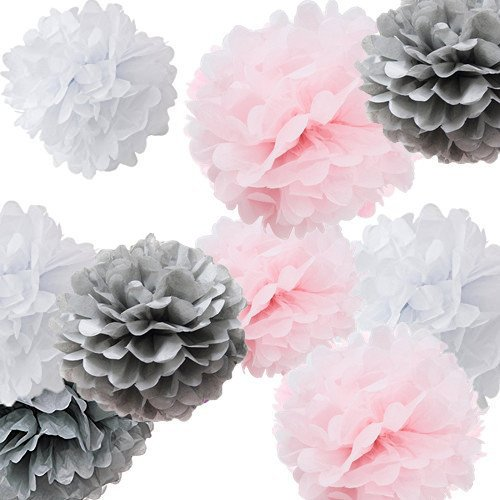 Fonder Mols 9pcs Mixed Sizes 8'' 10'' 14'' Tissue Paper Pom Poms Flower Wedding Party Baby Girl Room Nursery Decoration (White Pink Gray)