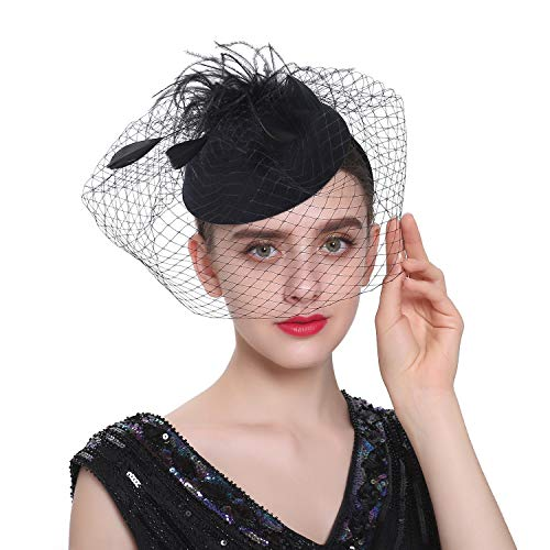 Zivyes Fascinator Hats for Women Pillbox Hat with Veil Headband and a Forked Clip Tea Party Headwear (A2-Black)
