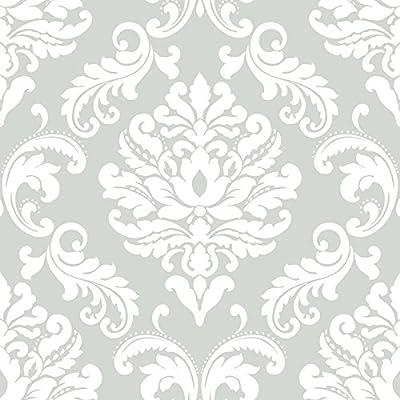 NuWallpaper NU1935 Ariel Grey Peel and Stick Wallpaper