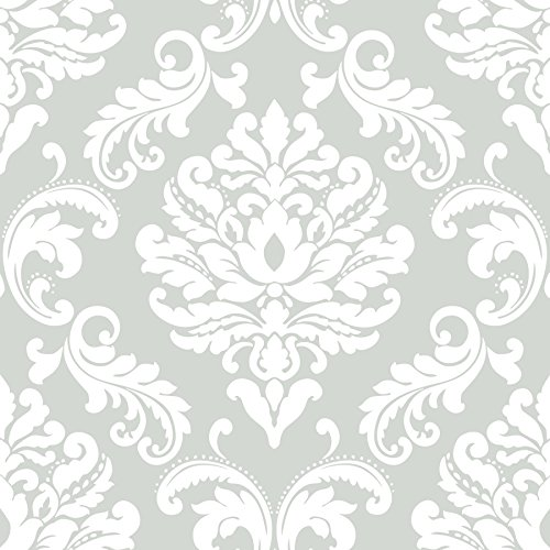 NuWallpaper NU1935 Ariel Grey Peel and Stick Wallpaper