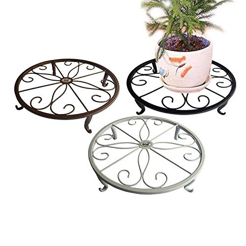 owerpot Holder Olde Metal / Iron Art , 9.52.5 inch, Flower Pot Supporting Indoor Outdoor Garden Pack of 3 Colors, White, Black & Brown (Iron Plant Stand)