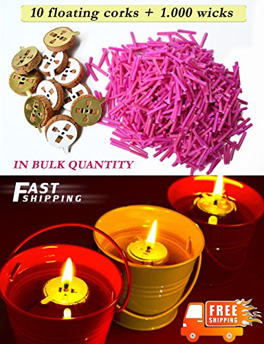 10 Floating Corks + 1.000 Wicks Oil Candle Light Suitable for Meditation In - Dreamers Candles