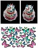 43Papillons Rose Bleu turquoise DIY Tasse comestible pour gâteaux mixte Taille