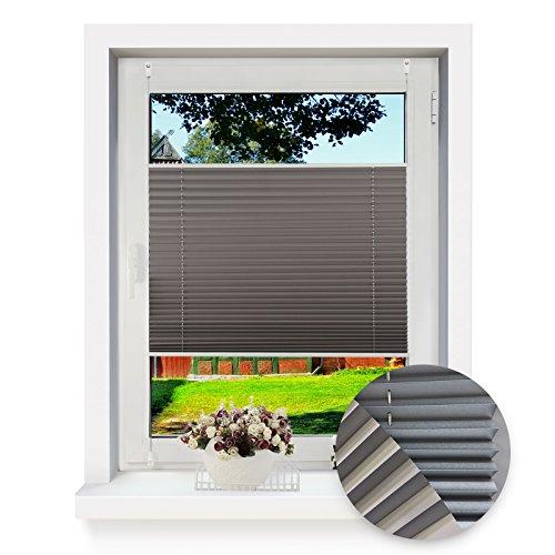 OUBO Thermo Plissee Klemmfix Verdunkelungsrollo 50 x 140 Grau Blickdicht Abdunkeln ohne Bohren Sonnenschutz Klemmträgern