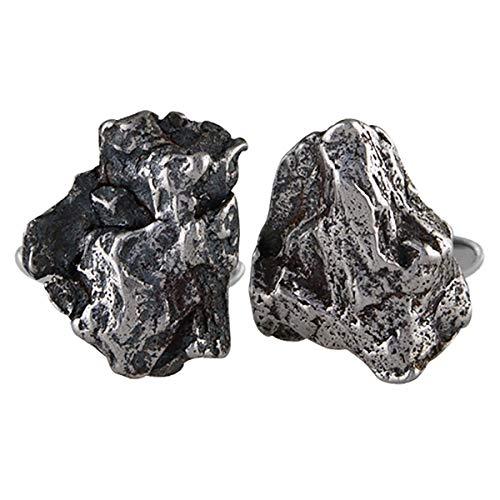 (Starborn Sterling Silver and Genuine Campo Del Cielo Meteorite Cufflinks)