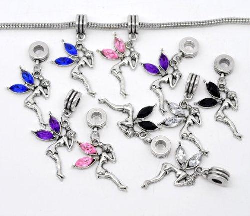 HOUSWEETY 10 Mixte Pendant Breloque Fee Strass Cristal pour Bracelet Charm