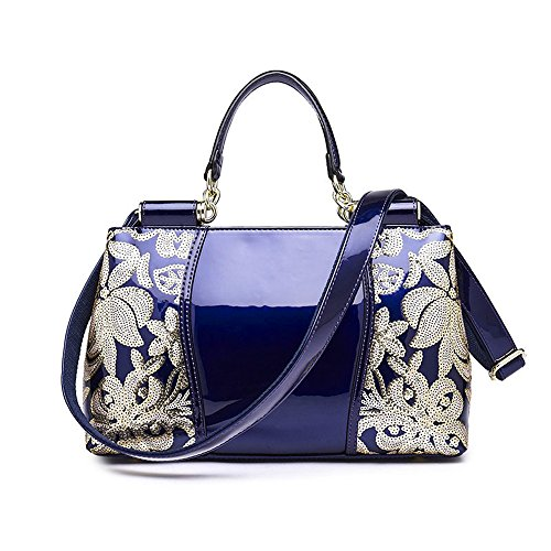 Mn&Sue Royal Noble Glossy Shine Patent Leather Paillette Embroider Women Top Handle Handbag Satchel Purse (Sapphire) (Blue Patent Leather Bag)