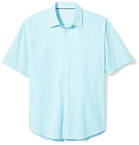 Amazon Essentials Men's Regular-Fit Short-Sleeve Casual Poplin Shirt, aqua gingham, Small (Casual Shirts Button Mens)