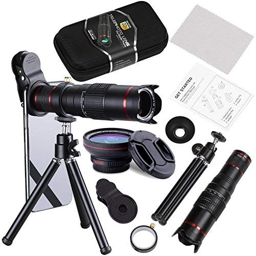 BECEMURU Phone Camera Lens,22X Telephoto Zoom Camera Lens Kit Double Regulation HD Scale Distance FOV Cell Phone Lens Attachment with Tripod for iPhone X/8/7/7 Plus/6s/6/5,Android Smart Phone (For Note Telephoto Lens 3)