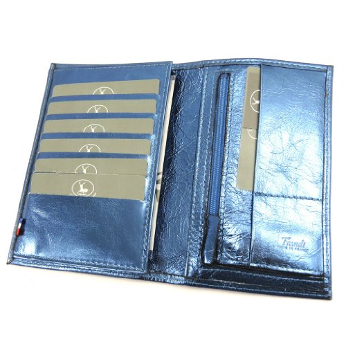 Portafoglio in pelle 'Frandi'blu electra (carte +).