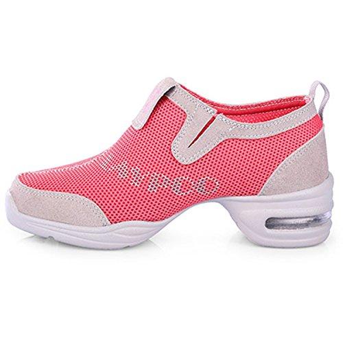 VECJUNIA Ladies Mesh Dance Trainer Dance Shoes Walking Shoes Pink Y8WkHh6Oj