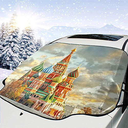 V5DGFJH.B Car Front Windshield Cover, Red Square Moscow Windshield Snow Cover Protector All Weather Winter Summer Waterproof Windshield Protector