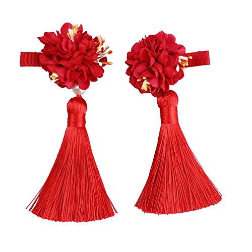 Chinese New Year Accessories (Chinese Style Girls Flower Tassels Hair Clips Kids Cheongsam Hair)