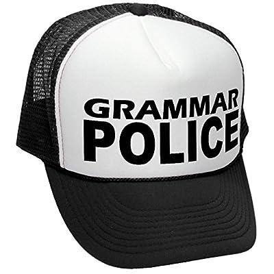 GRAMMAR POLICE - funny parody joke gag - Adult Trucker Cap Hat, Black