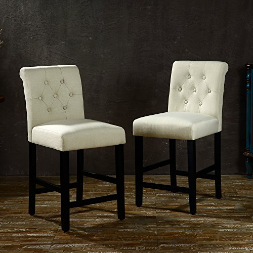 LSSBOUGHT Set of 2 Button-Tufted Fabric Barstools Dining High Counter Height Side Chairs (Seat Height: 24 inches, Beige) (Stool Bench Upholstered)