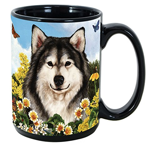 (Alaskan Malamute) Garden Party 15 Oz Black Coffee Cup Mug, Dog & Cat Pet Gift, For Extreme Animal Lovers!