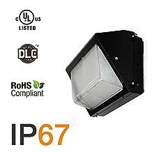 Hakkatronics 60-Watt Outdoor LED Wall Pack Security Light Fixture cUL-Listed, Daylight White 5000K, IP67 Waterpproof