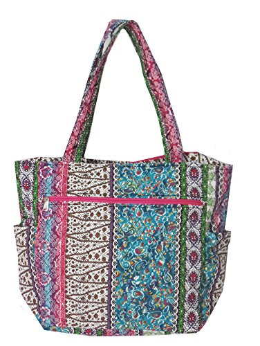 Large Quilted Tote Bag (Bohemian Print Quilted Multipurpose Market Beach Large Tote Bag (Bohemian)