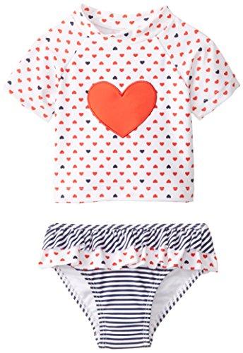 Little Me Baby Girls' Heart 2 Piece Rashguard, Floral, 24 Months