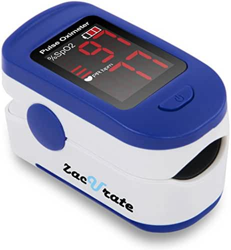 Zacurate 400B Fingertip Pulse Oximeter Blood Oxygen Saturation Monitor with batteries and lanyard included (Light Navy Blue)