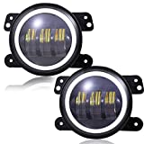 TURBOSII 4 inch LED Fog Lights with Halo Angel Eye Offroad Lamps Front Bumper Fog Lights White Halo Ring DRL for Jeep Wrangler JK JKU 2007-2017