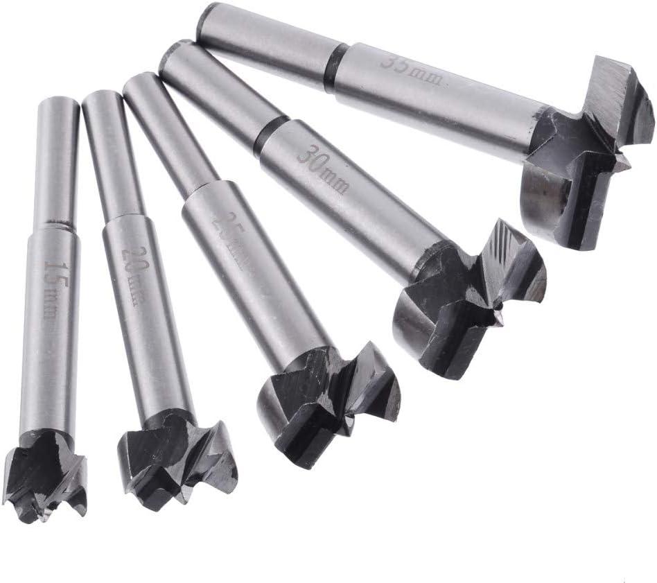 A WHLEHL Foret 5pcs trou de foret en bois a vu loutil de foret /à bois avec queue ronde pour outils de foret /à bois 15//20//25//30//35 mm