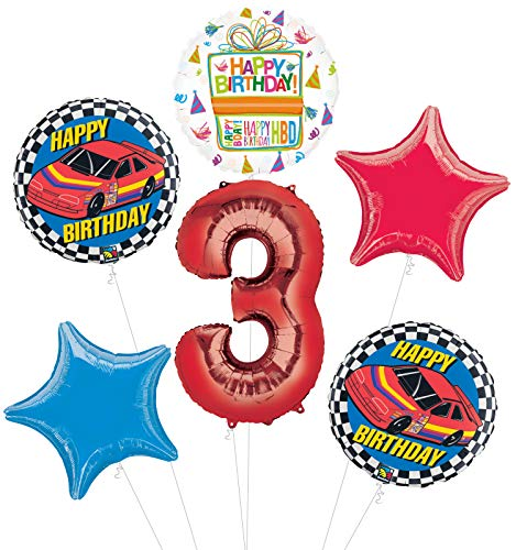 Race Car 3rd Birthday Party Supplies Stock Car Balloon Bouquet Decorations]()
