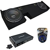 Fits 2009-2014 Ford F-150 Ext Super Cab Truck Rockford Prime R1S410 Dual 10 Sub Box Enclosure & R250X1 Amp