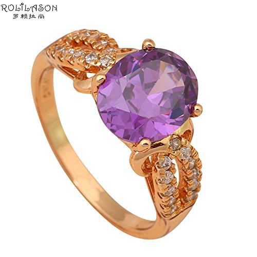 Fantastic 4 Costume Replica (Cherryn Jewelry Fantastic type purple Gold Plated Health Fashion Jewelry Nickel Lead Amethyst Ring USA Sz 5.5 6 6.5 7 JR1889)