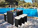 Do4U 7 PCS Rattan Wicker Bar Table Stool Dining Set Patio Garden Outdoor Furniture(Expresso-9010)