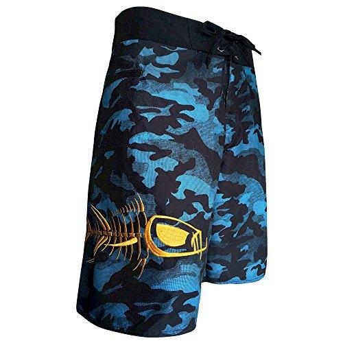 Tormenter Men's 5-Pocket Waterman Fishing Board Shorts (Blue Camo, 40)