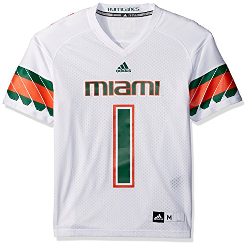 adidas NCAA Miami Hurricanes Men's Premier Football Jersey, White, (White Premier Jerseys)
