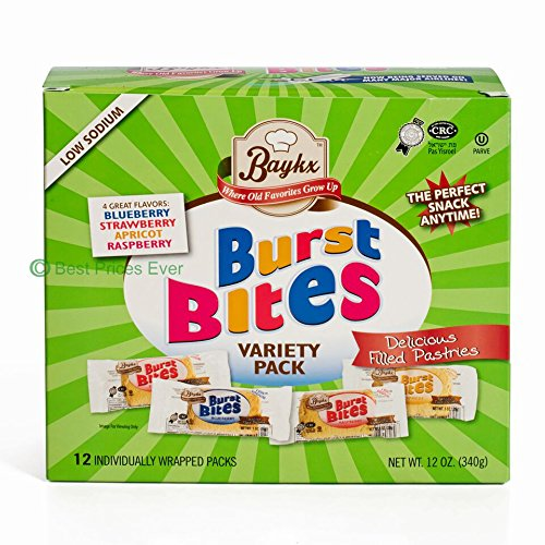 Burst Bites By Baykx: Delicious Filled Pastries In 4 Flavors Blueberry,Strawberry, Apricot, RaspberrySnack Variety Pack With 12 IndividuallyWrapped Cookies Healthy Low Sodium Sweet Treats