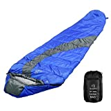 sleeping bag - OuterEQ Compact Lightweight Mummy Sleeping Bag, Compression Sack Waterproof For Camping & Hiking & Backpacking (Blue/Grey Right)