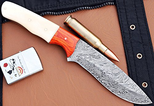 Custom Handmade Damascus Steel Hunting Knife Micarta & Camel Bone Handle DE109