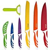 : HULLR 7 Piece Kitchen Knife Set Stainless Steel Knives With Multi Colored Non-Stick Coating Includes Ceramic Peeler Gift Box