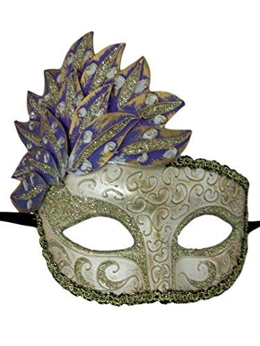 Purple Gold Venetian Mask Masquerade Mardi Gras Party Leaf Cascade