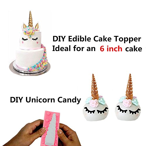 Cake Decorating Unicorn Horn Silicone Mold With Ears And Eyes Set