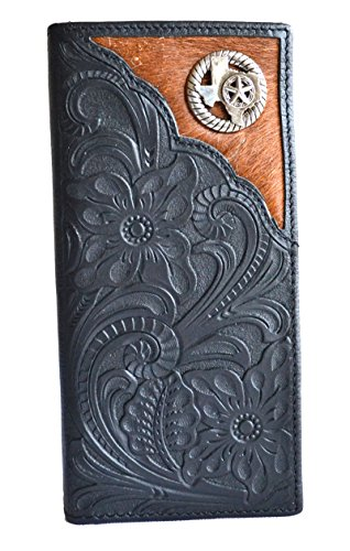 - men black Texas state map star concho cowhide bifold slim leather wallet