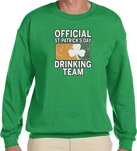 Claddagh Irish Pub - Amdesco Men's Official St Patricks Day Drinking Team Crewneck Sweatshirt, Kelly Green XL